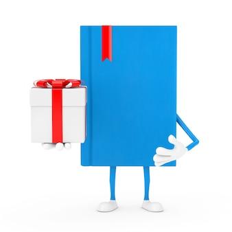 Mascotte del personaggio del libro blu con confezione regalo e nastro rosso su sfondo bianco. rendering 3d