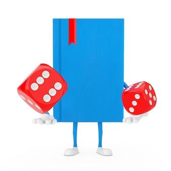 Mascotte del carattere del libro blu con i cubi rossi dei dadi del gioco in volo su un fondo bianco. rendering 3d