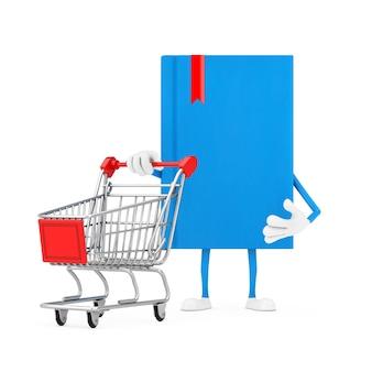 Mascotte del carattere del libro blu con il carrello del carrello su un fondo bianco. rendering 3d