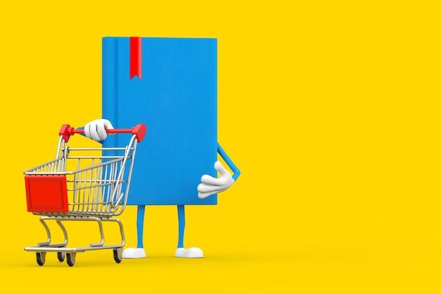 Mascotte del carattere del libro blu con il carrello del carrello su un fondo giallo. rendering 3d