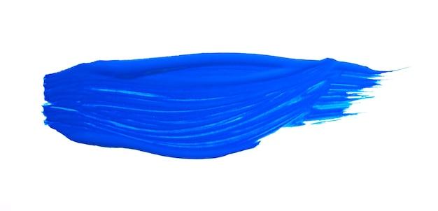 Pennellata blu isolato su sfondo bianco. colpo astratto blu. tratto di pennello acquerello colorato.