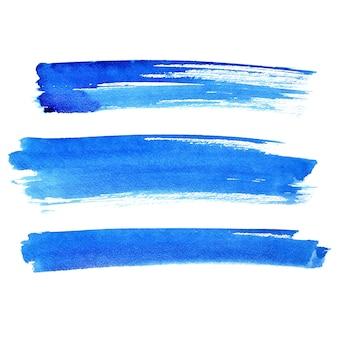 Pennellate blu isolate su sfondo bianco - illustrazione raster