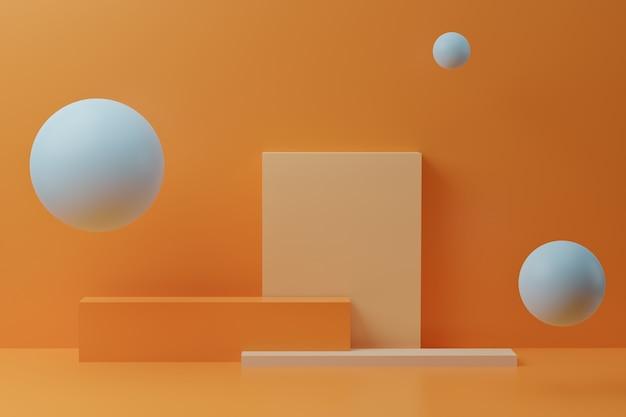 Bolle blu e podio quadrato colorato su sfondo arancione. rendering 3d con figure geometriche, design minimale. sfondo astratto