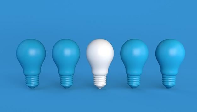 Lampadine blu con bulbo differenziato bianco. illustrazione 3d.
