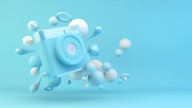 Fotocamera blu circondata da forme geometriche rendering 3d