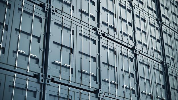 Parete blu dei contenitori di carico. illustrazione 3d di alta qualità