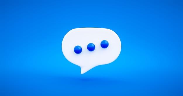 Blu chat bolla messaggio discorso dialogo icona simbolo o tipo di comunicazione parlare e illustrazione elemento design piatto su sfondo di colore vivido con chat parlare palloncino conversazione. rappresentazione 3d.