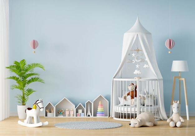 Interno blu della camera da letto del bambino con lo spazio della copia