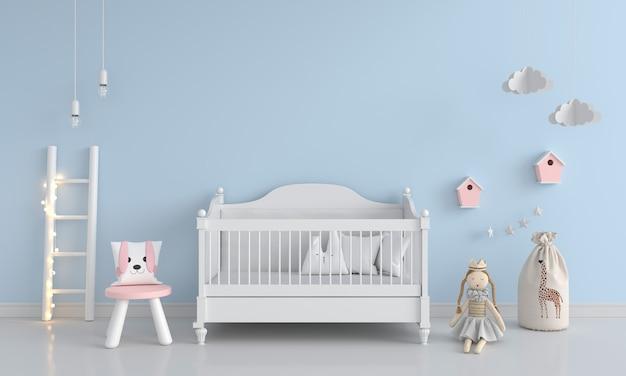 Camera da letto blu del bambino con lo spazio della copia