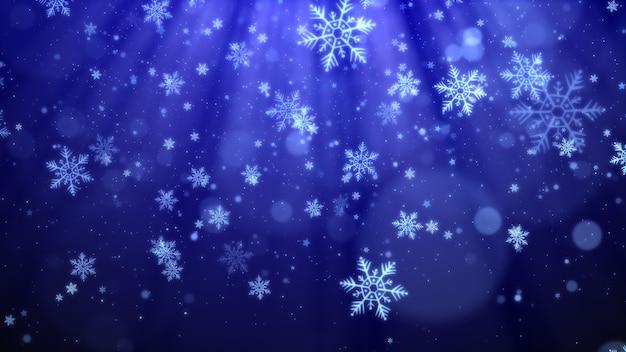 Sfondo di natale blu con fiocchi di neve, luci brillanti e bokeh di particelle in tema elegante.