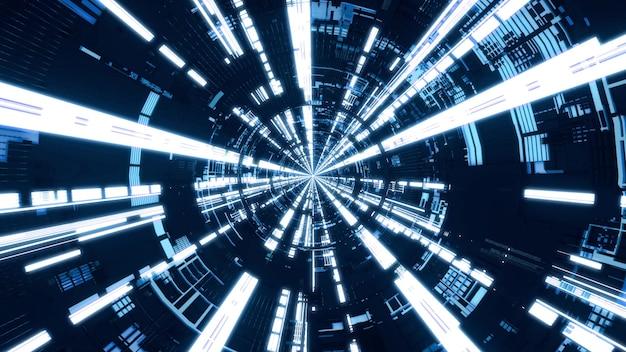 Tunnel circolare blu. volare nel tunnel dell'astronave, corridoio dell'astronave di fantascienza, rendering 3d