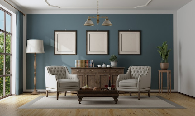 Interni classici blu con mobili eleganti