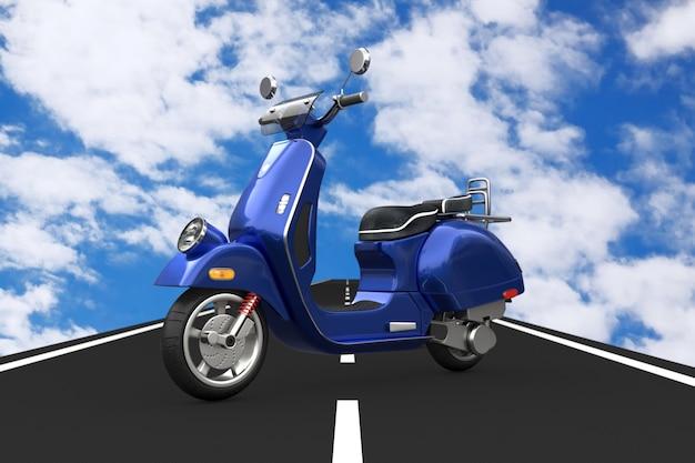 Blue classic vintage retrò o scooter elettrico su strada asfaltata su uno sfondo di cielo blu. rendering 3d