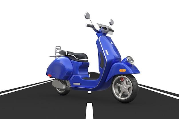 Blue classic vintage retrò o scooter elettrico su strada asfaltata su sfondo bianco. rendering 3d