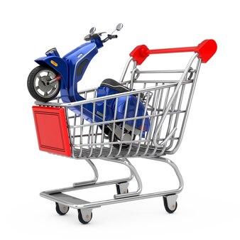 Blu classico vintage retrò o scooter elettrico nel carrello del carrello su sfondo bianco. rendering 3d