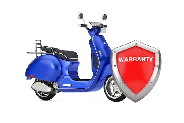 Scooter elettrico o retrò vintage classico blu con scudo di garanzia di protezione in metallo rosso su sfondo bianco. rendering 3d
