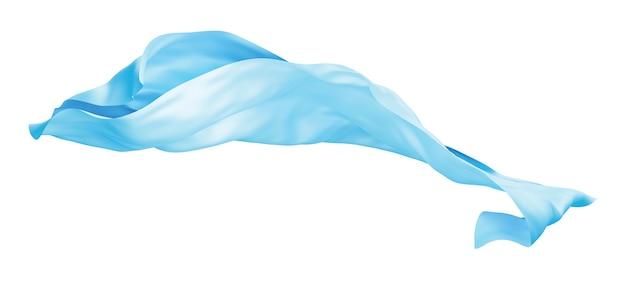 Panno blu che vola il vento isolato su sfondo bianco 3d render