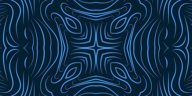 La linea riccia astratta di colore blu fiorisce lo sfondo