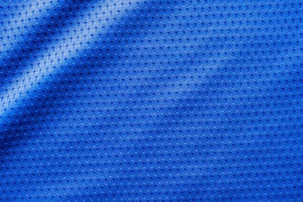 Maglia da calcio per abbigliamento sportivo in tessuto di colore blu con sfondo trama a maglie d'aria
