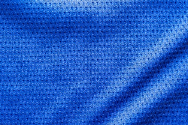 Maglia da calcio per abbigliamento sportivo in tessuto di colore blu con sfondo trama a rete d'aria