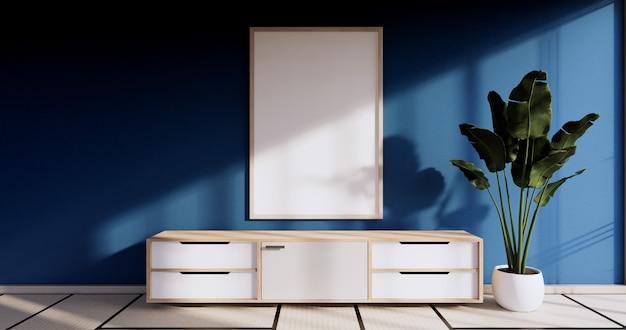 Interni di design in camera di colore blu con carta per porte e mensola per armadietto a parete su pavimento in tatami in stile giapponese. rendering 3d