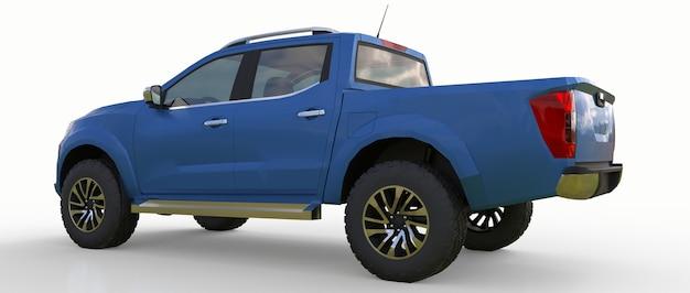 Camion di consegna di veicoli commerciali blu con doppia cabina. macchina senza insegne con un corpo vuoto pulito per ospitare i tuoi loghi ed etichette. rendering 3d.