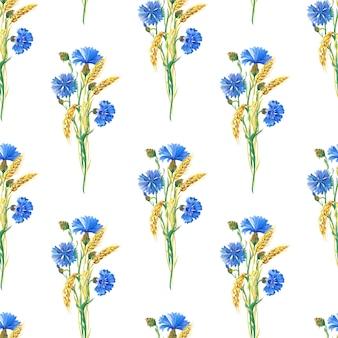 Fiordalisi blu, grano modello senza cuciture floreale dell'acquerello. illustrazione dell'acquerello con fiore