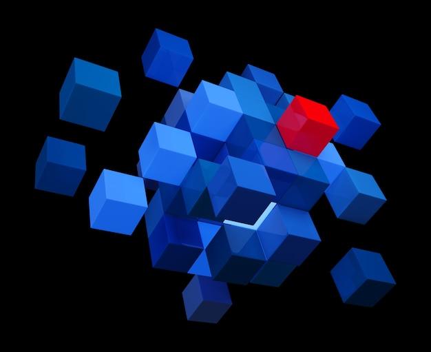 Cubi blu e uno rosso. illustrazione 3d. sfondo nero.