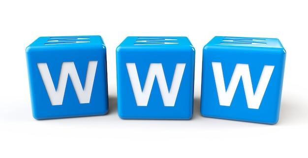 Cubi blu con lettere www su sfondo bianco