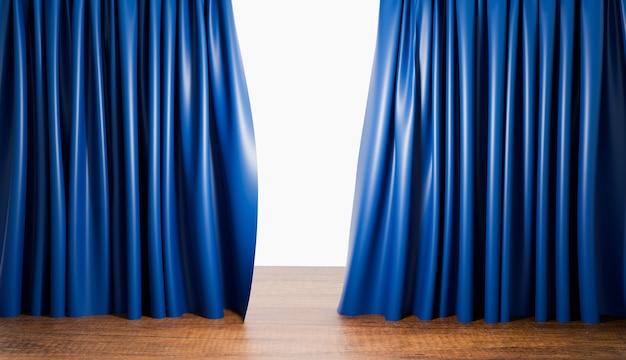 Tende blu con pavimento in legno in sala teatro o home theater, rendering di illustrazioni 3d