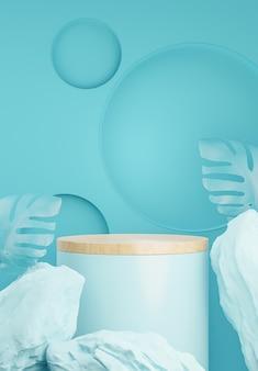 Podio cilindro blu con foglia della pianta per l'esposizione del prodotto