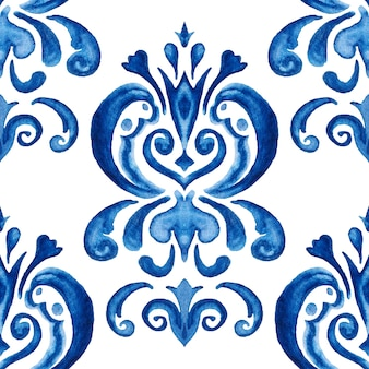 Disegno floreale disegnato a mano del damasco blu. modello di pittura ad acquerello ornamentale senza cuciture astratto per tessuto Foto Premium