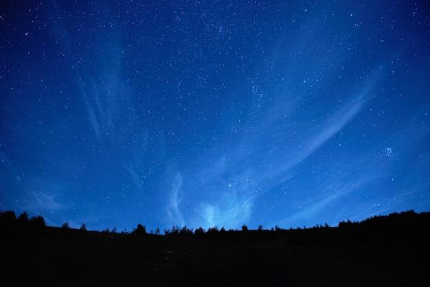 Cielo notturno blu scuro con molte stelle.