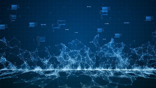 Connessioni di rete di dati digitali del cyberspazio digitale blu