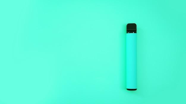 Sigaretta elettronica usa e getta blu su sfondo blu brillante. modello di catalogo