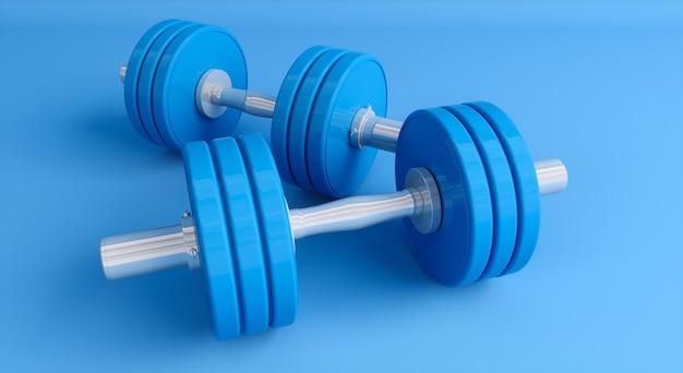 Manubri blu su sfondo blu bianco close up, 3d'illustrazione