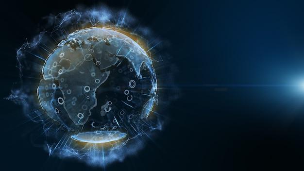 Tecnologia digitale terra blu con cerchio e barra su sfondo blu scuro.