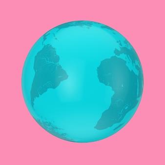 Globo terrestre blu in stile bicolore su sfondo rosa. rendering 3d