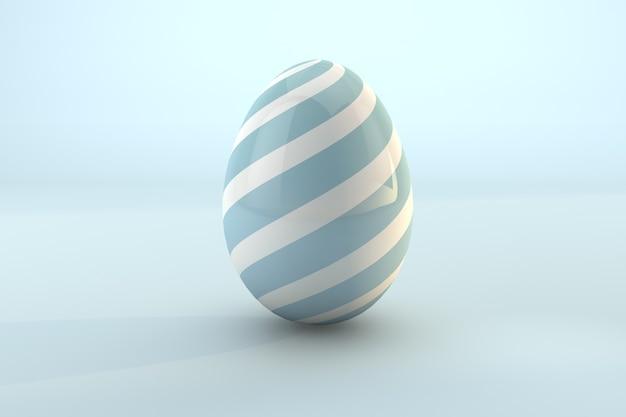 Modello blu dell'uovo di pasqua isolato su priorità bassa pastello blu. 3d render uno sfondo trasparente di file psd