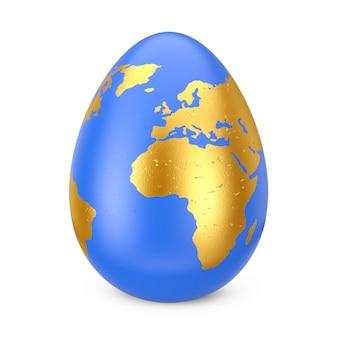 Uovo blu come globo con mappa del mondo d'oro su sfondo bianco. rendering 3d