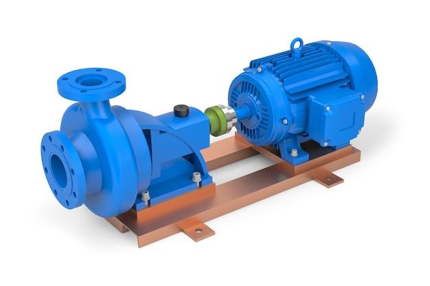 Priorità bassa bianca della pompa dell'acqua elettrica blu. rendering 3d