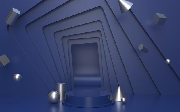 Palco podio vuoto blu per l'esposizione del prodotto con sfondo di oggetti geometrici d'argento