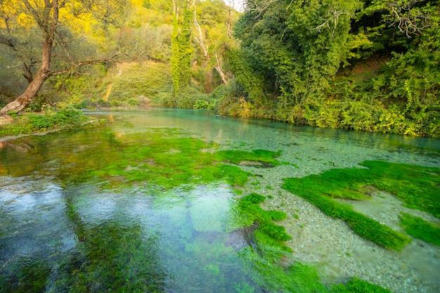 Blue eye (sorgente d'acqua) con vista estiva di acqua cristallina (vicino a muzine nella contea di vlore, albania).