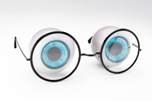 Il bulbo oculare blu dell'occhio umano e gli occhiali rotondi neri messi su bianco