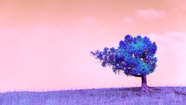 Albero fantastico blu sulla collina con erba viola contro il cielo rosa. effetto creativo del filtro a infrarossi. paesaggio surreale