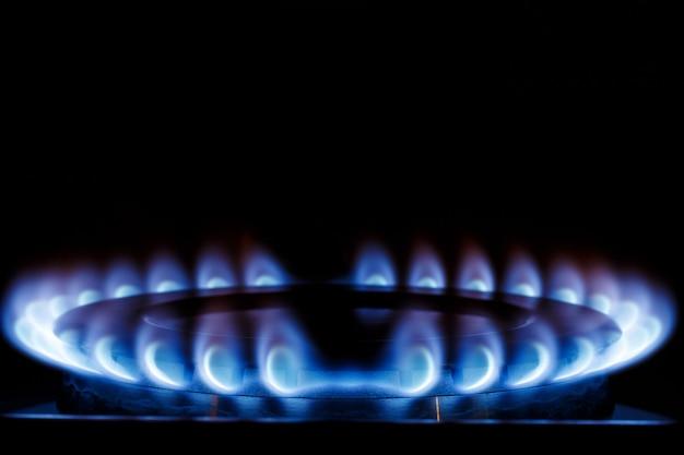 La fiamma blu del fornello a gas del fornello della cucina al buio. posto sotto il testo.