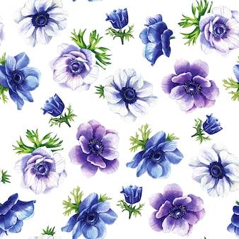 Modello senza cuciture di fiori blu