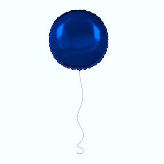 Palloncino stagnola blu isolato su sfondo bianco 3d render