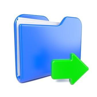 Cartella blu con freccia verde. isolato su bianco.