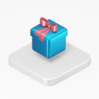 Icona blu del regalo con un fiocco rosso nell'elemento di interfaccia utente di rendering 3d ux